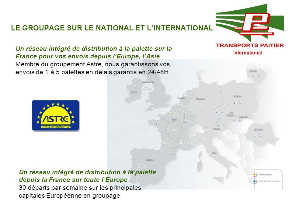 International LE GROUPAGE SUR LE NATIONAL ET LINTERNATIONAL Un réseau intégré de distribution à la palette sur la France pour vos envois depuis lEurop