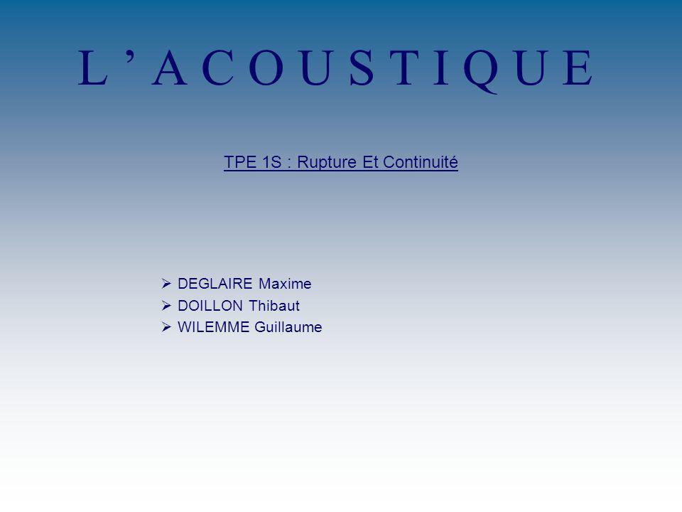 L A C O U S T I Q U E TPE 1S : Rupture Et Continuité DEGLAIRE Maxime DOILLON Thibaut WILEMME Guillaume