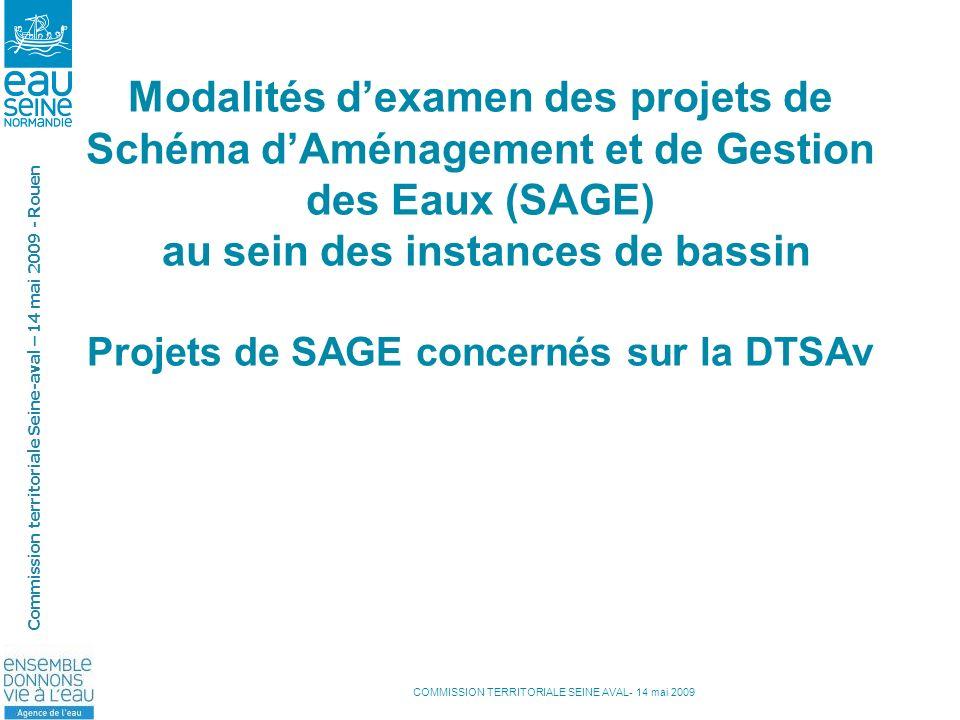 COMMISSION TERRITORIALE SEINE AVAL- 14 mai 2009 Commission territoriale Seine-aval – 14 mai 2009 - Rouen Modalités dexamen des projets de Schéma dAmén