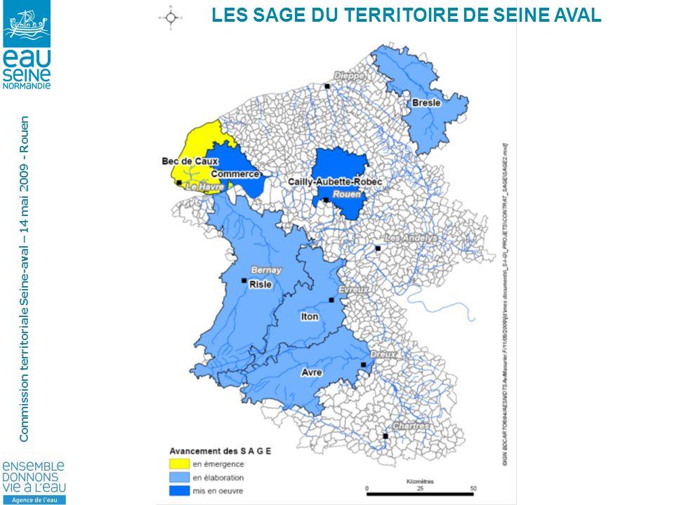 COMMISSION TERRITORIALE SEINE AVAL- 14 mai 2009 Commission territoriale Seine-aval – 14 mai 2009 - Rouen LES SAGE DU TERRITOIRE DE SEINE AVAL