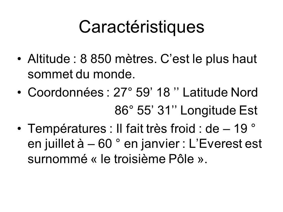 Caractéristiques Altitude : 8 850 mètres.Cest le plus haut sommet du monde.
