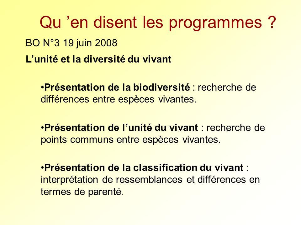 Qu en disent les programmes ? BO N°3 19 juin 2008 Lunité et la diversité du vivant Présentation de la biodiversité : recherche de différences entre es