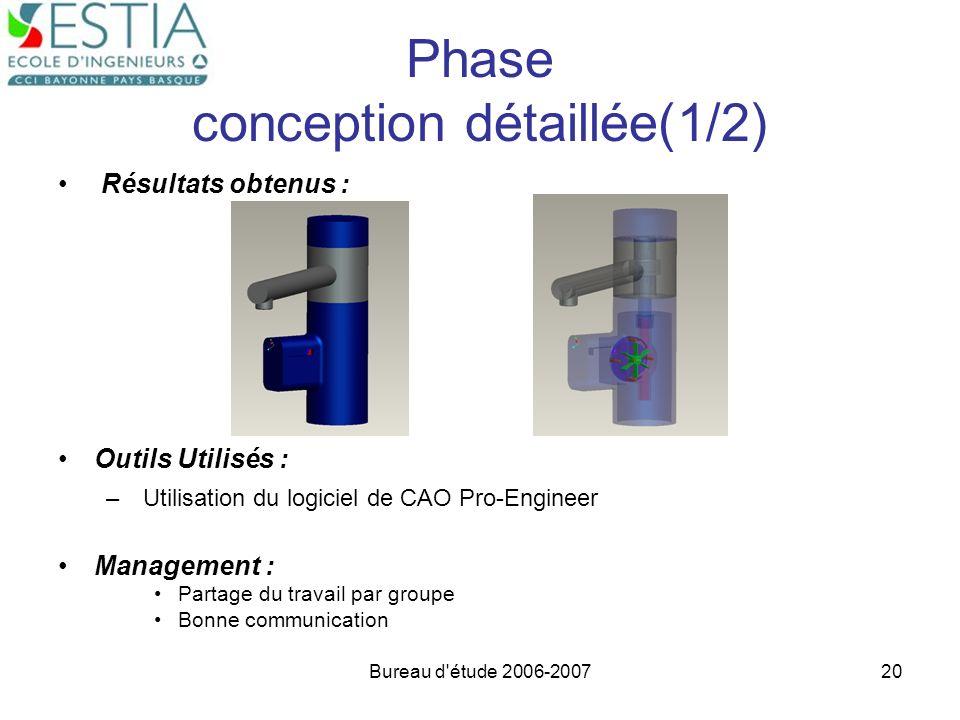 Bureau d'étude 2006-200720 Phase conception détaillée(1/2) Résultats obtenus : Outils Utilisés : – Utilisation du logiciel de CAO Pro-Engineer Managem