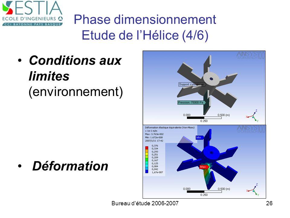 Bureau d'étude 2006-200726 Phase dimensionnement Etude de lHélice (4/6) Conditions aux limites (environnement) Déformation