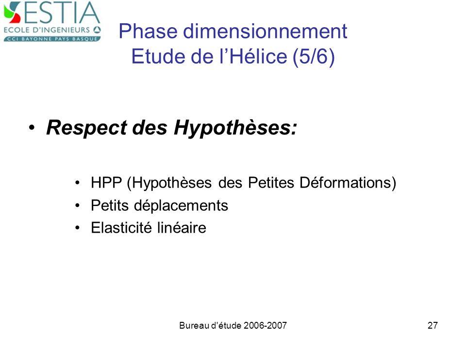 Bureau d'étude 2006-200727 Phase dimensionnement Etude de lHélice (5/6) Respect des Hypothèses: HPP (Hypothèses des Petites Déformations) Petits dépla