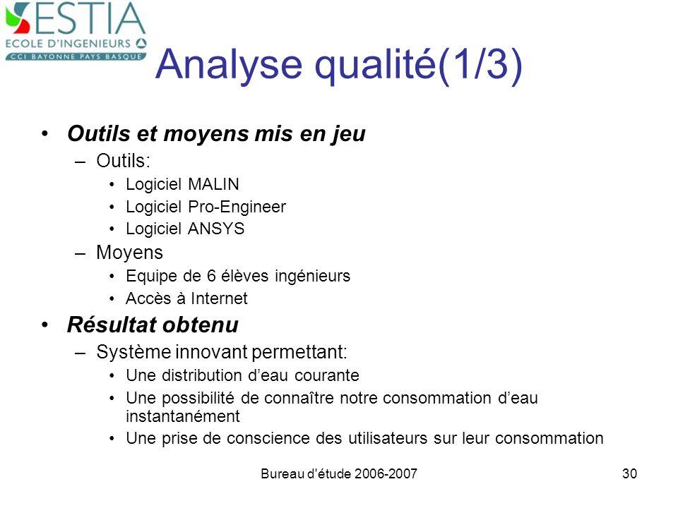 Bureau d'étude 2006-200730 Analyse qualité(1/3) Outils et moyens mis en jeu –Outils: Logiciel MALIN Logiciel Pro-Engineer Logiciel ANSYS –Moyens Equip