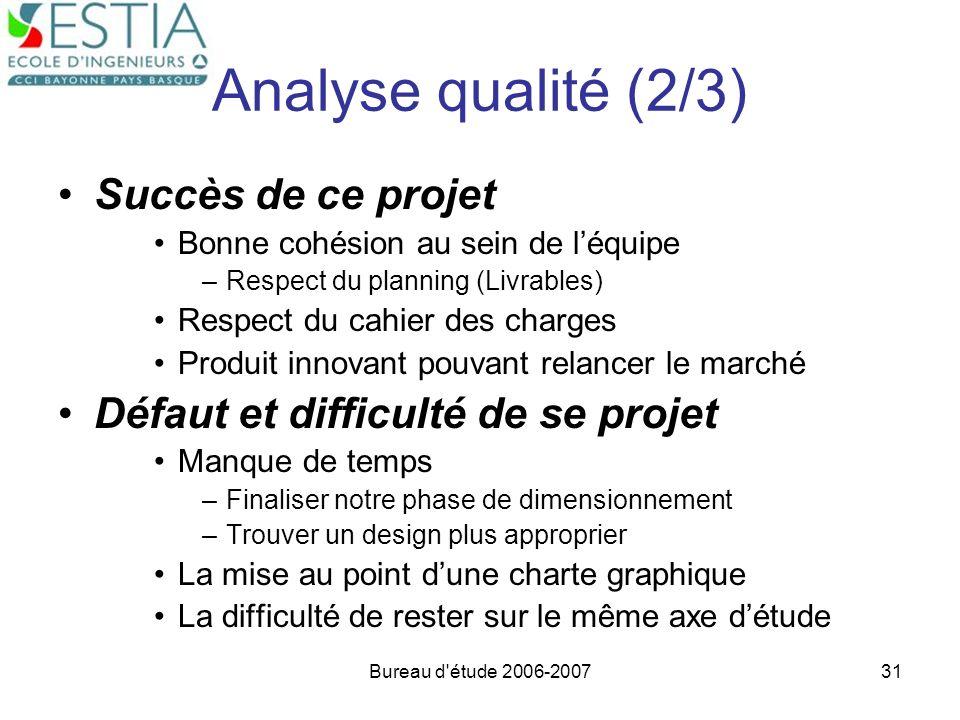 Bureau d'étude 2006-200731 Analyse qualité (2/3) Succès de ce projet Bonne cohésion au sein de léquipe –Respect du planning (Livrables) Respect du cah