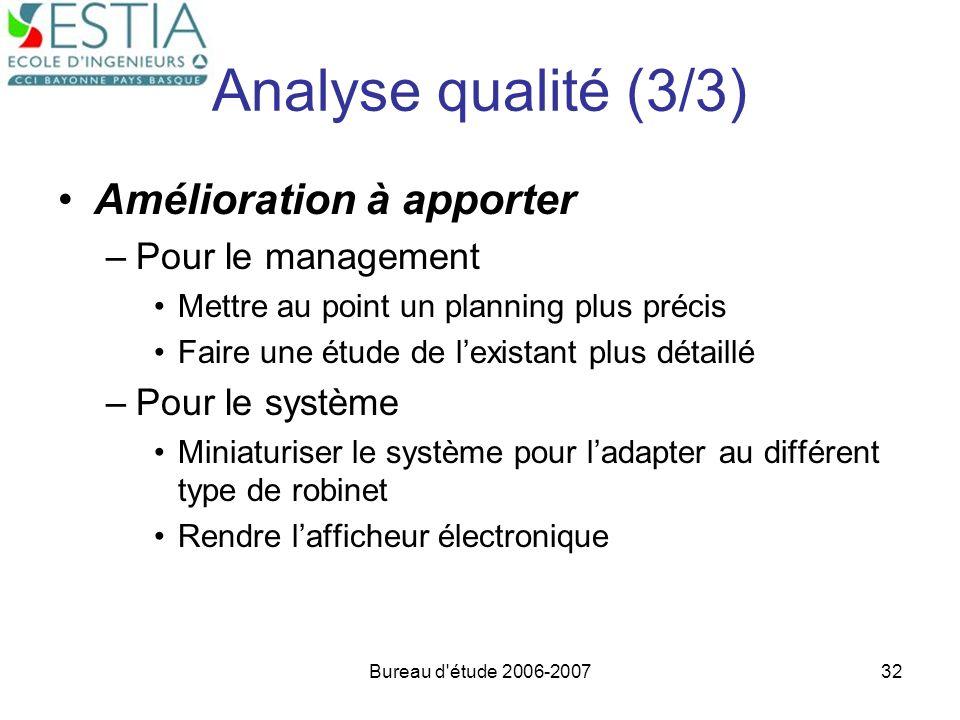 Bureau d'étude 2006-200732 Analyse qualité (3/3) Amélioration à apporter –Pour le management Mettre au point un planning plus précis Faire une étude d