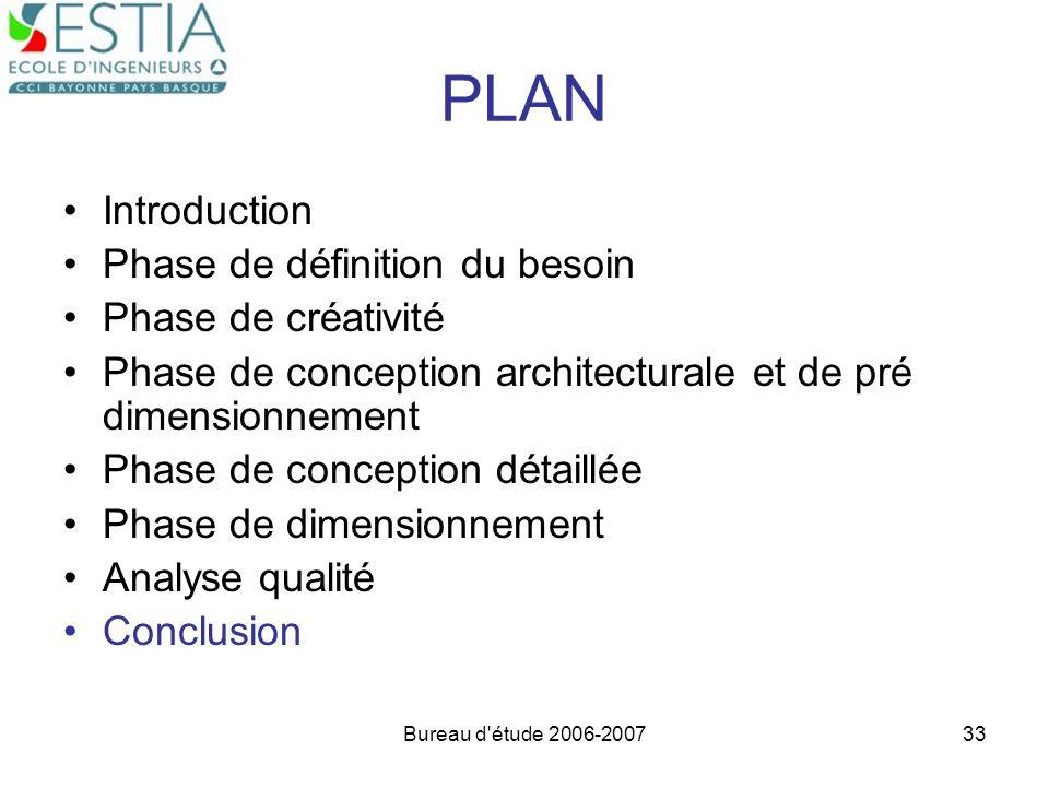 Bureau d'étude 2006-200733 PLAN Introduction Phase de définition du besoin Phase de créativité Phase de conception architecturale et de pré dimensionn