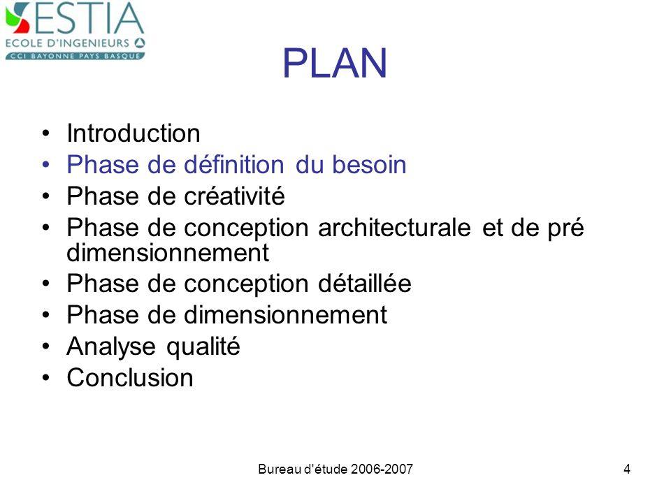 Bureau d'étude 2006-20074 PLAN Introduction Phase de définition du besoin Phase de créativité Phase de conception architecturale et de pré dimensionne