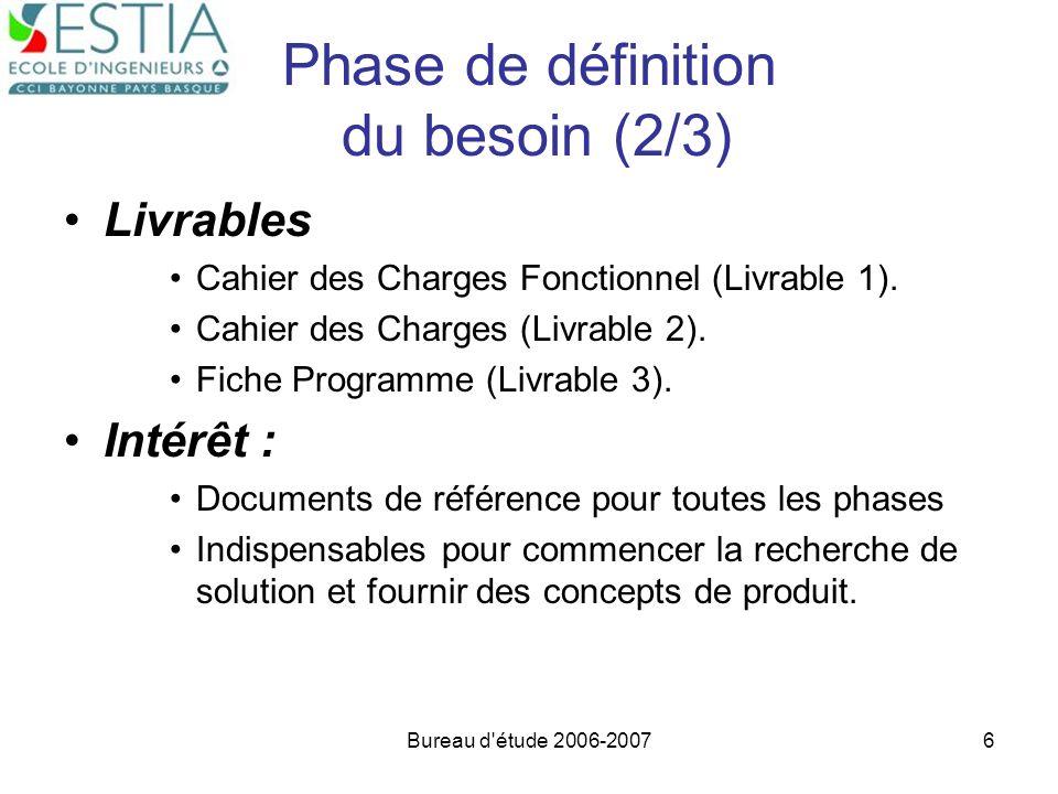 Bureau d'étude 2006-20076 Phase de définition du besoin (2/3) Livrables Cahier des Charges Fonctionnel (Livrable 1). Cahier des Charges (Livrable 2).