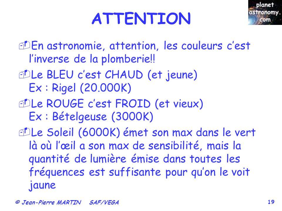 © Jean-Pierre MARTIN SAF/VEGA 19 ATTENTION En astronomie, attention, les couleurs cest linverse de la plomberie!! Le BLEU cest CHAUD (et jeune) Ex : R