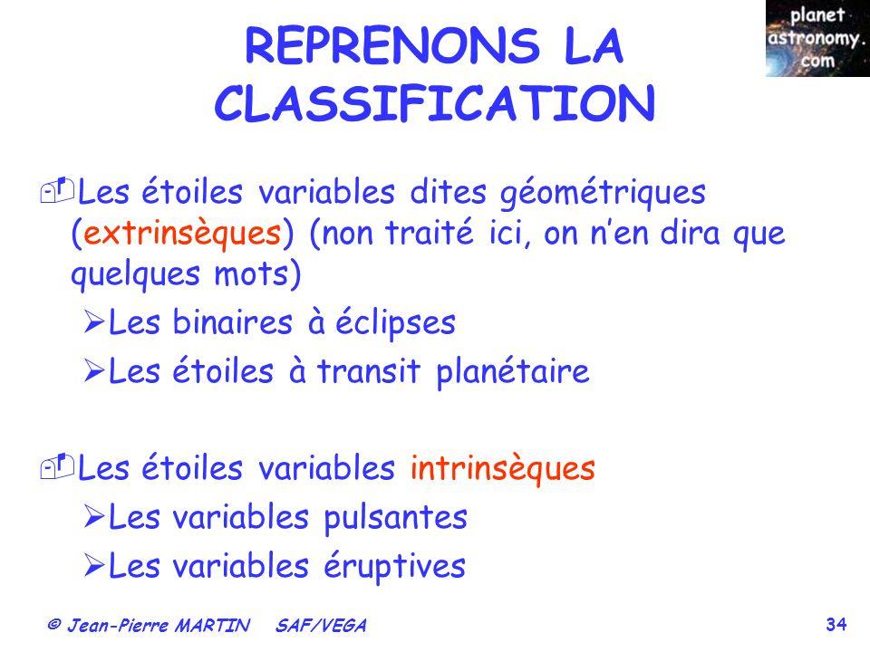 © Jean-Pierre MARTIN SAF/VEGA 34 Les étoiles variables dites géométriques (extrinsèques) (non traité ici, on nen dira que quelques mots) Les binaires