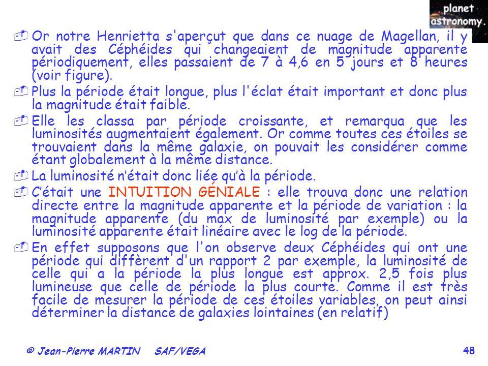 © Jean-Pierre MARTIN SAF/VEGA 48 Or notre Henrietta s'aperçut que dans ce nuage de Magellan, il y avait des Céphéides qui changeaient de magnitude app