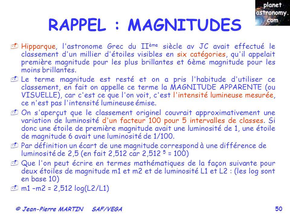 © Jean-Pierre MARTIN SAF/VEGA 50 Hipparque, l'astronome Grec du II ème siècle av JC avait effectué le classement d'un millier d'étoiles visibles en si