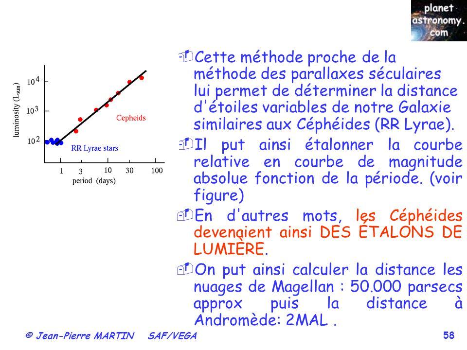 © Jean-Pierre MARTIN SAF/VEGA 58 Cette méthode proche de la méthode des parallaxes séculaires lui permet de déterminer la distance d'étoiles variables