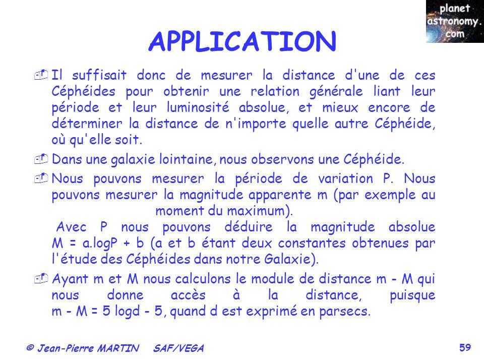 © Jean-Pierre MARTIN SAF/VEGA 59 Il suffisait donc de mesurer la distance d'une de ces Céphéides pour obtenir une relation générale liant leur période