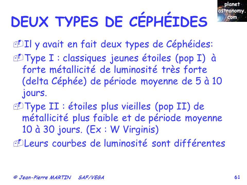 © Jean-Pierre MARTIN SAF/VEGA 61 DEUX TYPES DE CÉPHÉIDES Il y avait en fait deux types de Céphéides: Type I : classiques jeunes étoiles (pop I) à fort