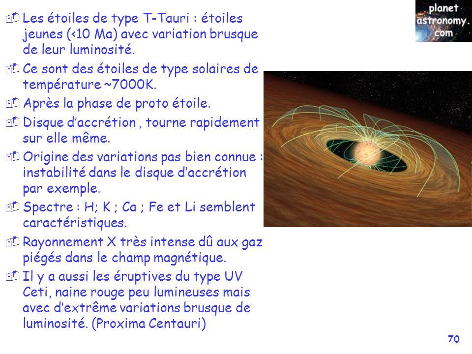 © Jean-Pierre MARTIN SAF/VEGA 70 Les étoiles de type T-Tauri : étoiles jeunes (<10 Ma) avec variation brusque de leur luminosité. Ce sont des étoiles