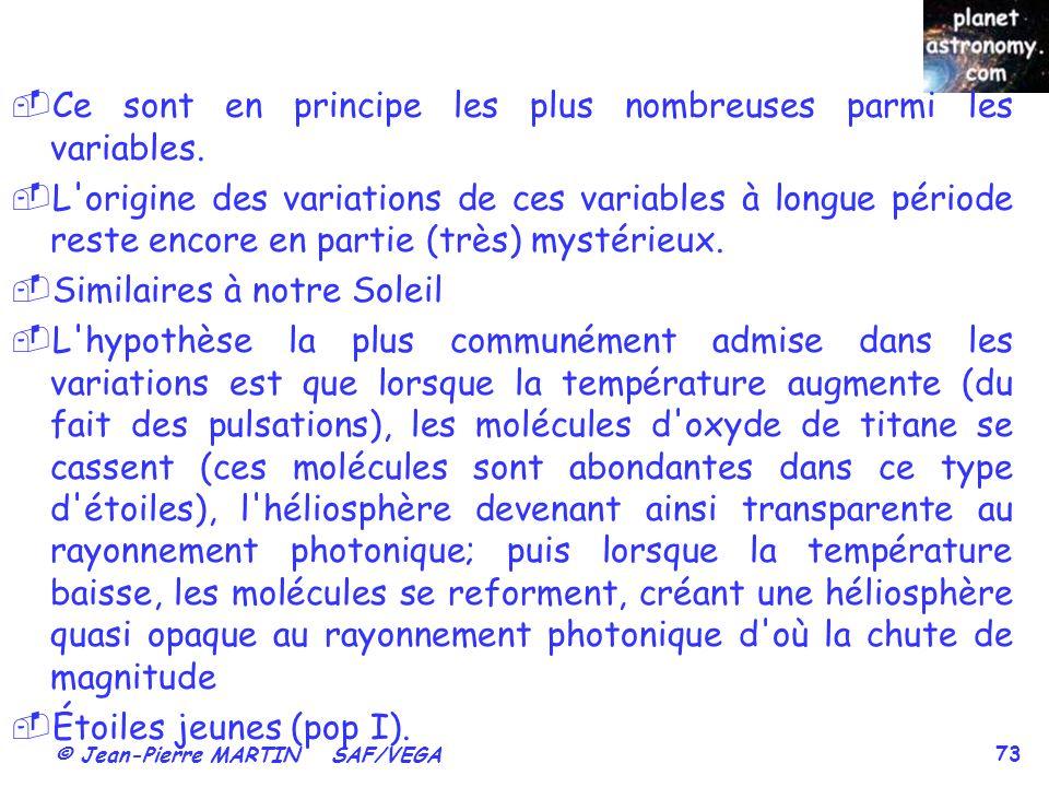 © Jean-Pierre MARTIN SAF/VEGA 73 Ce sont en principe les plus nombreuses parmi les variables. L'origine des variations de ces variables à longue pério