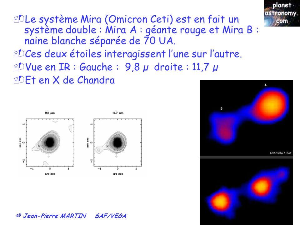 © Jean-Pierre MARTIN SAF/VEGA 75 Le système Mira (Omicron Ceti) est en fait un système double : Mira A : géante rouge et Mira B : naine blanche séparé