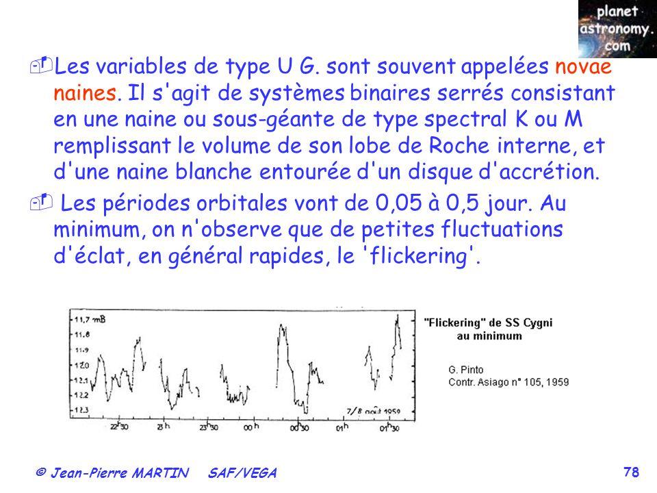 © Jean-Pierre MARTIN SAF/VEGA 78 Les variables de type U G. sont souvent appelées novae naines. Il s'agit de systèmes binaires serrés consistant en un