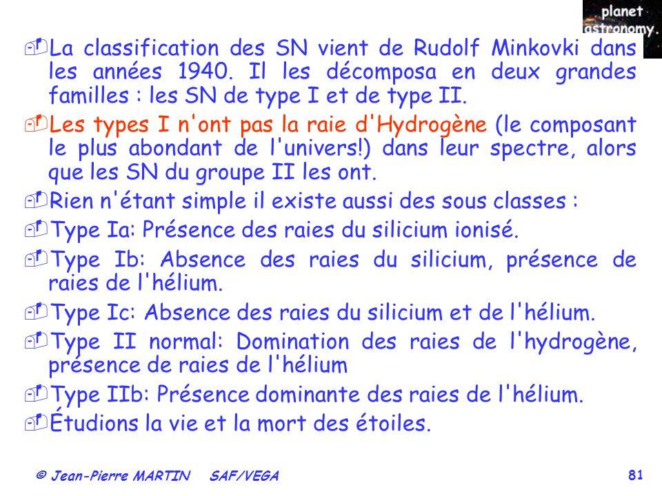 © Jean-Pierre MARTIN SAF/VEGA 81 La classification des SN vient de Rudolf Minkovki dans les années 1940. Il les décomposa en deux grandes familles : l