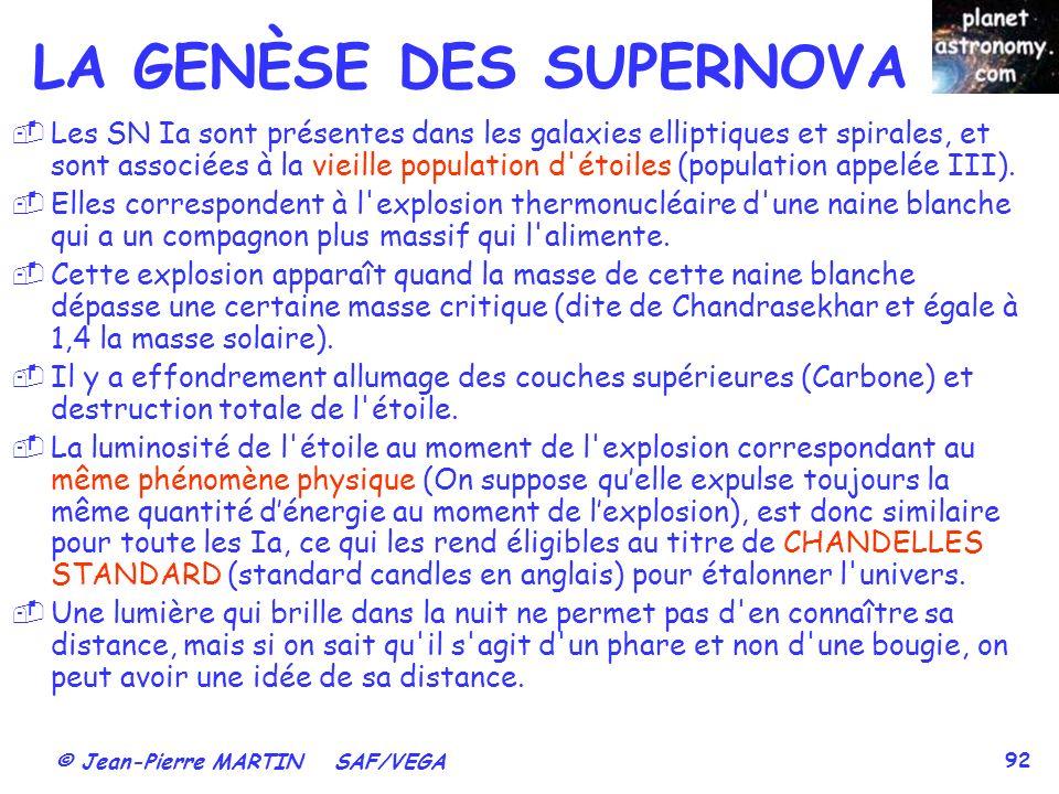 © Jean-Pierre MARTIN SAF/VEGA 92 Les SN Ia sont présentes dans les galaxies elliptiques et spirales, et sont associées à la vieille population d étoiles (population appelée III).