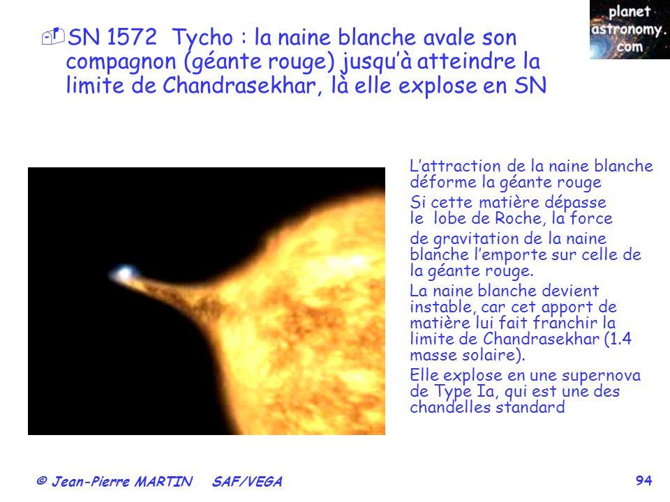 © Jean-Pierre MARTIN SAF/VEGA 94 SN 1572 Tycho : la naine blanche avale son compagnon (géante rouge) jusquà atteindre la limite de Chandrasekhar, là e