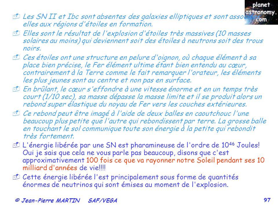 © Jean-Pierre MARTIN SAF/VEGA 97 Les SN II et Ibc sont absentes des galaxies elliptiques et sont associées, elles aux régions d'étoiles en formation.