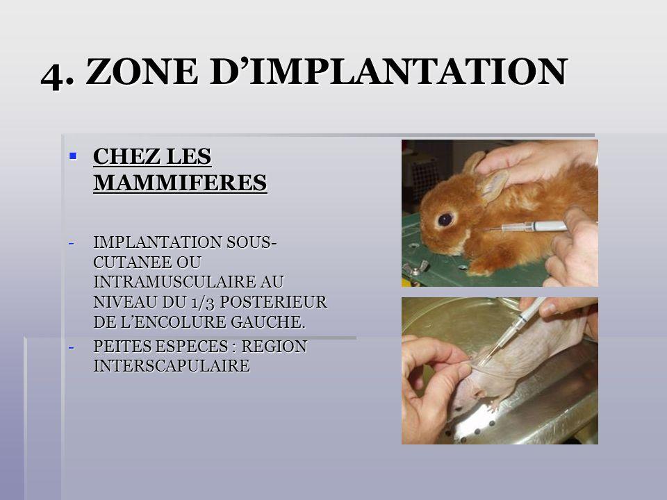 4. ZONE DIMPLANTATION CHEZ LES MAMMIFERES CHEZ LES MAMMIFERES -IMPLANTATION SOUS- CUTANEE OU INTRAMUSCULAIRE AU NIVEAU DU 1/3 POSTERIEUR DE LENCOLURE