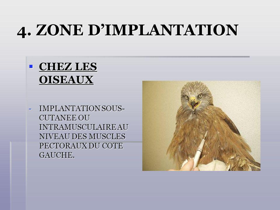 4. ZONE DIMPLANTATION CHEZ LES OISEAUX CHEZ LES OISEAUX -IMPLANTATION SOUS- CUTANEE OU INTRAMUSCULAIRE AU NIVEAU DES MUSCLES PECTORAUX DU COTE GAUCHE.