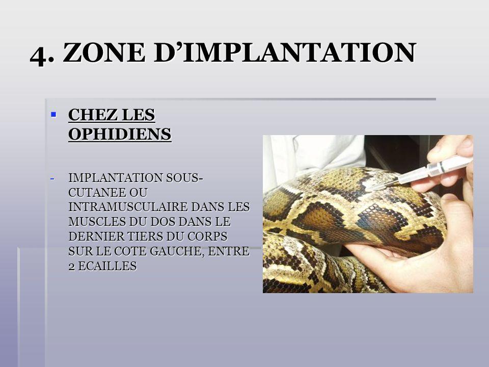 4. ZONE DIMPLANTATION CHEZ LES OPHIDIENS CHEZ LES OPHIDIENS -IMPLANTATION SOUS- CUTANEE OU INTRAMUSCULAIRE DANS LES MUSCLES DU DOS DANS LE DERNIER TIE