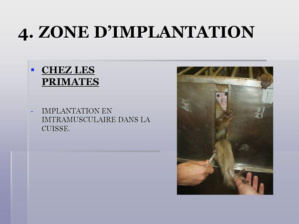 4. ZONE DIMPLANTATION CHEZ LES PRIMATES CHEZ LES PRIMATES -IMPLANTATION EN IMTRAMUSCULAIRE DANS LA CUISSE.
