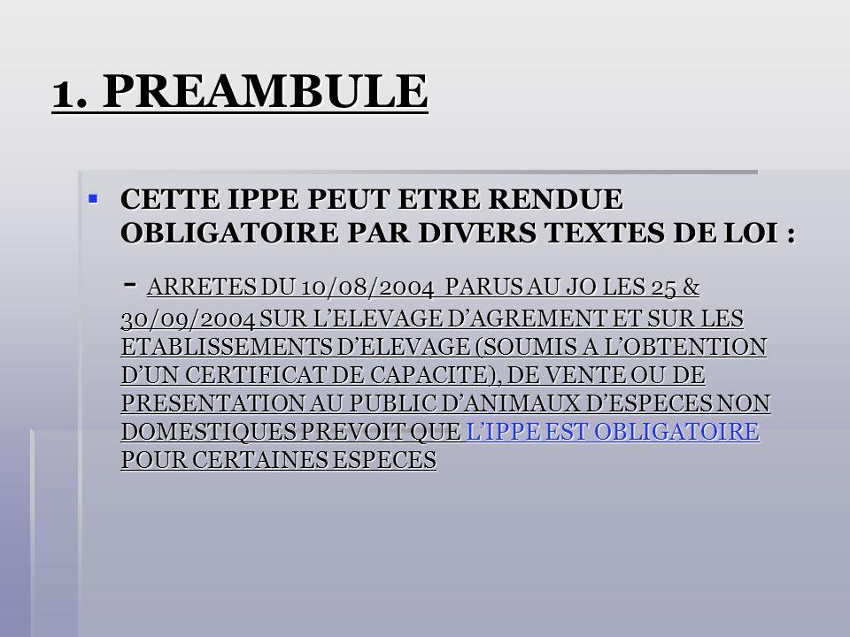 1. PREAMBULE CETTE IPPE PEUT ETRE RENDUE OBLIGATOIRE PAR DIVERS TEXTES DE LOI : CETTE IPPE PEUT ETRE RENDUE OBLIGATOIRE PAR DIVERS TEXTES DE LOI : - A