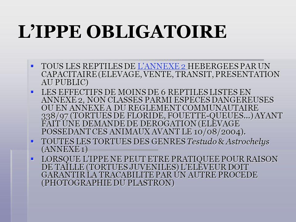 LIPPE OBLIGATOIRE TOUS LES REPTILES DE LANNEXE 2 HEBERGEES PAR UN CAPACITAIRE (ELEVAGE, VENTE, TRANSIT, PRESENTATION AU PUBLIC) TOUS LES REPTILES DE LANNEXE 2 HEBERGEES PAR UN CAPACITAIRE (ELEVAGE, VENTE, TRANSIT, PRESENTATION AU PUBLIC)LANNEXE 2 LANNEXE 2 LES EFFECTIFS DE MOINS DE 6 REPTILES LISTES EN ANNEXE 2, NON CLASSES PARMI ESPECES DANGEREUSES OU EN ANNEXE A DU REGLEMENT COMMUNAUTAIRE 338/97 (TORTUES DE FLORIDE, FOUETTE-QUEUES…) AYANT FAIT UNE DEMANDE DE DEROGATION (ELEVAGE POSSEDANT CES ANIMAUX AVANT LE 10/08/2004).