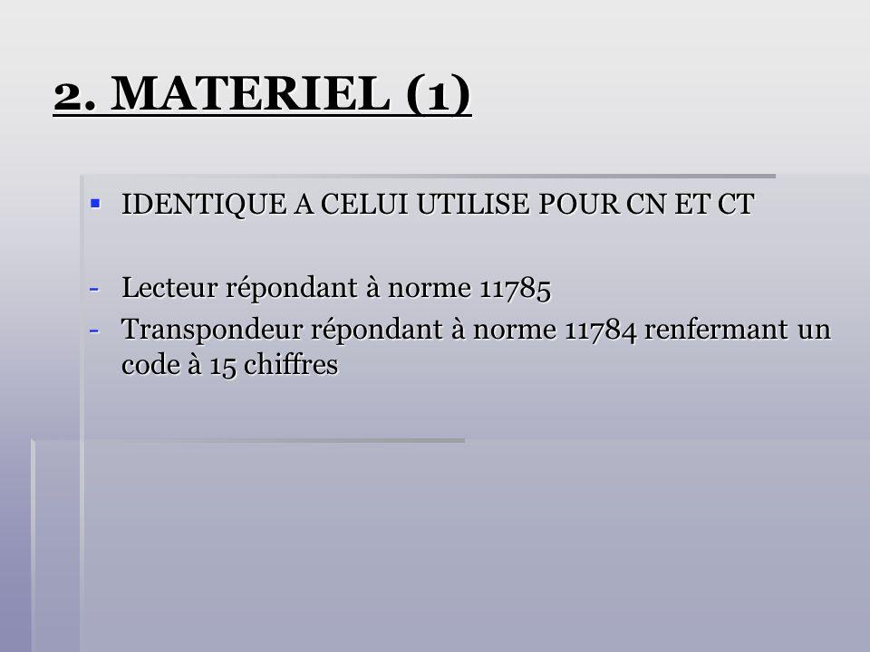 2. MATERIEL (1) IDENTIQUE A CELUI UTILISE POUR CN ET CT IDENTIQUE A CELUI UTILISE POUR CN ET CT -Lecteur répondant à norme 11785 -Transpondeur réponda