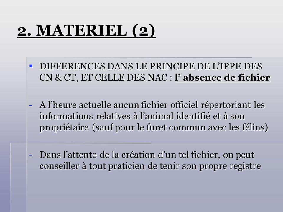 2. MATERIEL (2) DIFFERENCES DANS LE PRINCIPE DE LIPPE DES CN & CT, ET CELLE DES NAC : l absence de fichier DIFFERENCES DANS LE PRINCIPE DE LIPPE DES C
