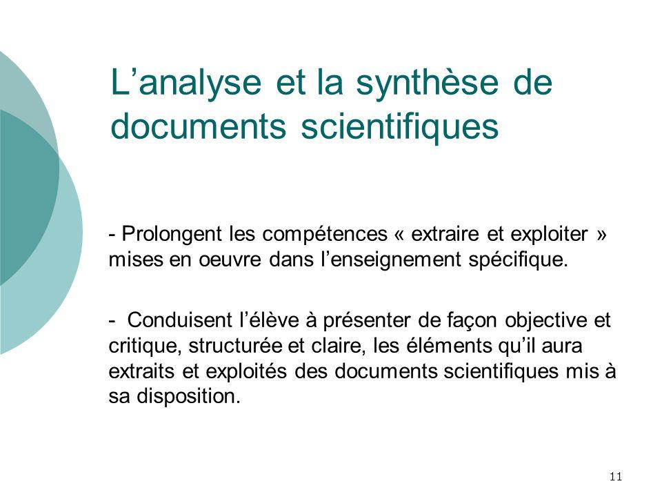 Lanalyse et la synthèse de documents scientifiques - Prolongent les compétences « extraire et exploiter » mises en oeuvre dans lenseignement spécifiqu