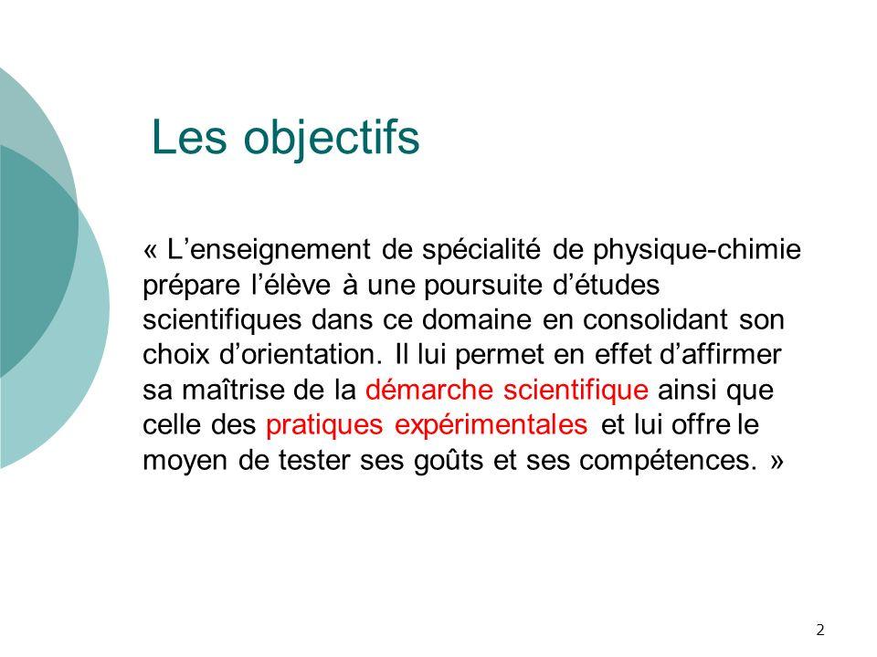 Les objectifs « Lenseignement de spécialité de physique-chimie prépare lélève à une poursuite détudes scientifiques dans ce domaine en consolidant son