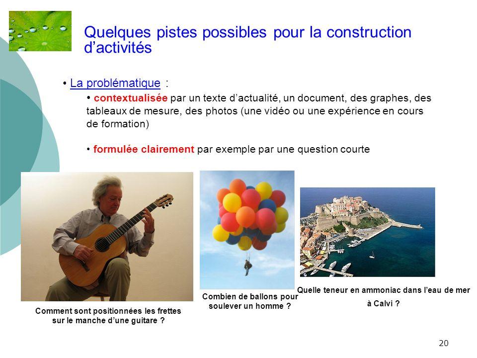 20 Quelques pistes possibles pour la construction dactivités La problématique : contextualisée par un texte dactualité, un document, des graphes, des