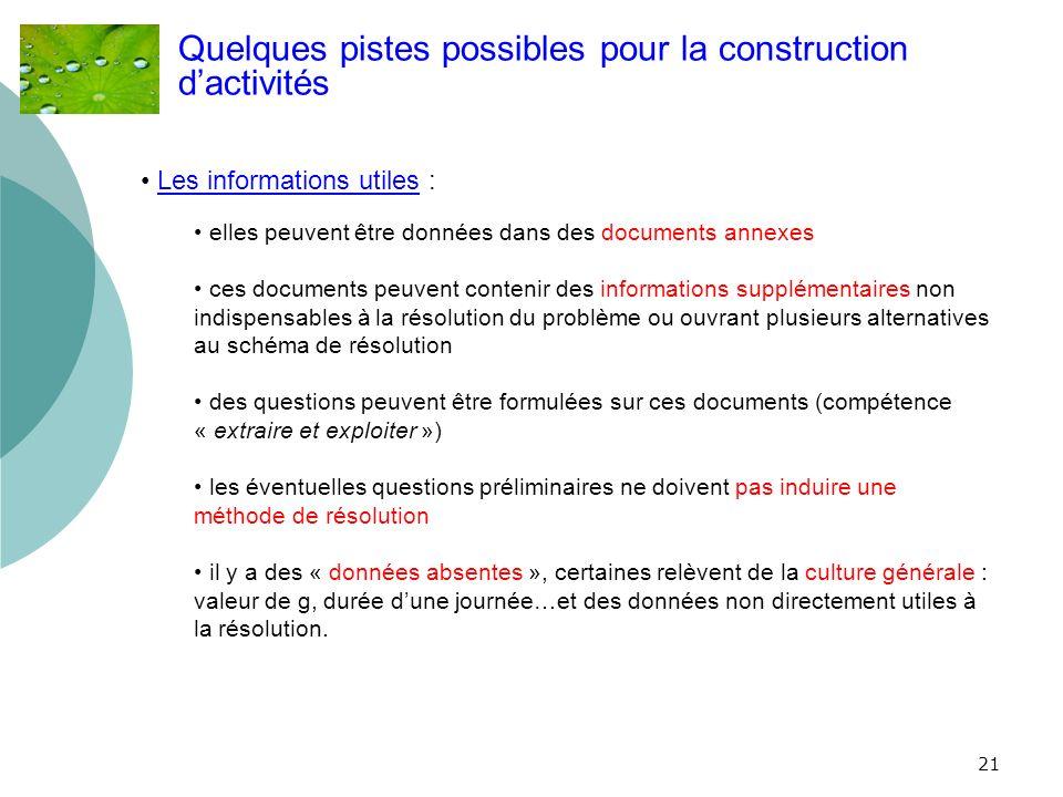 21 Quelques pistes possibles pour la construction dactivités Les informations utiles : elles peuvent être données dans des documents annexes ces docum