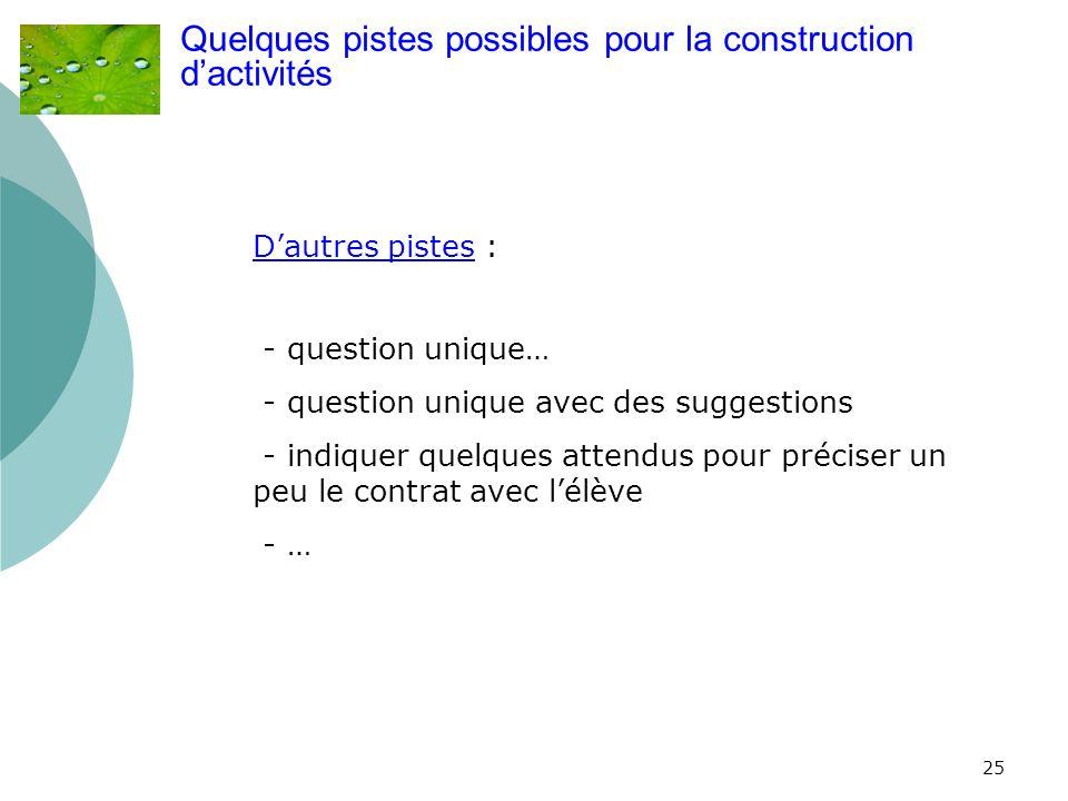 25 Quelques pistes possibles pour la construction dactivités Dautres pistes : - question unique… - question unique avec des suggestions - indiquer que