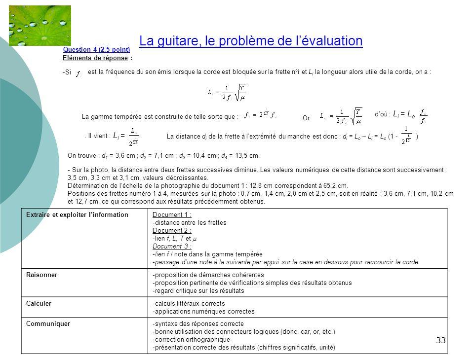33 La guitare, le problème de lévaluation.. Question 4 (2,5 point) Eléments de réponse : -Si est la fréquence du son émis lorsque la corde est bloquée
