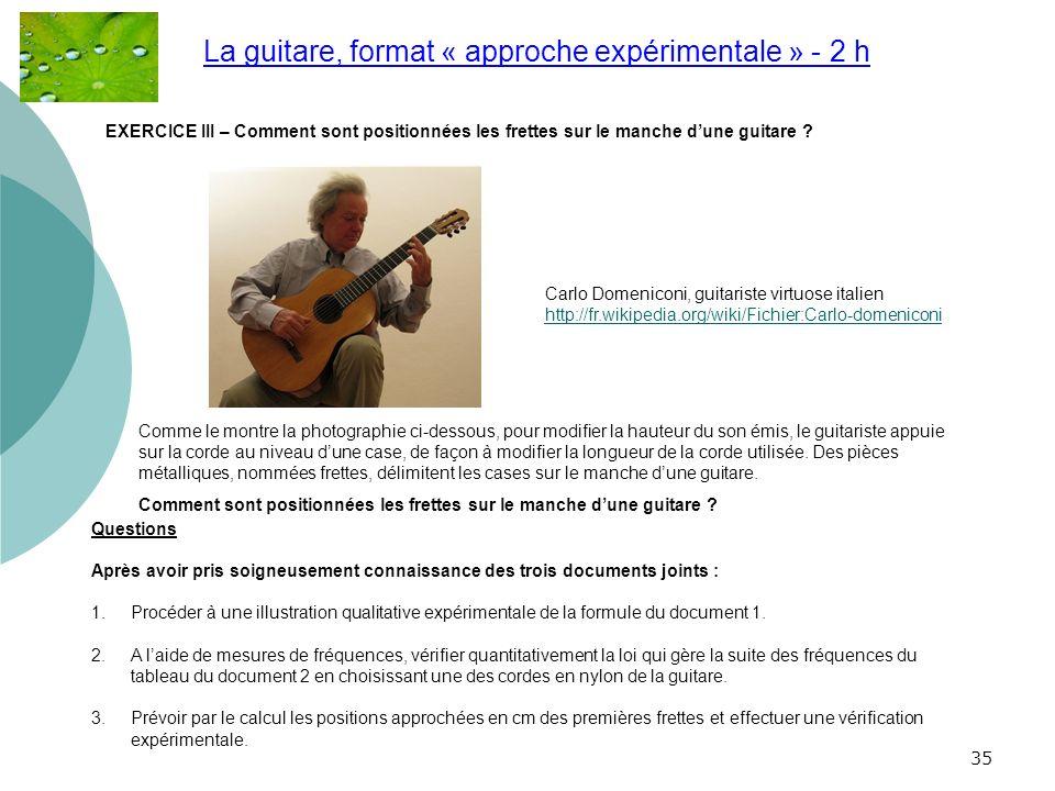 35 La guitare, format « approche expérimentale » - 2 h.. Carlo Domeniconi, guitariste virtuose italien http://fr.wikipedia.org/wiki/Fichier:Carlo-dome