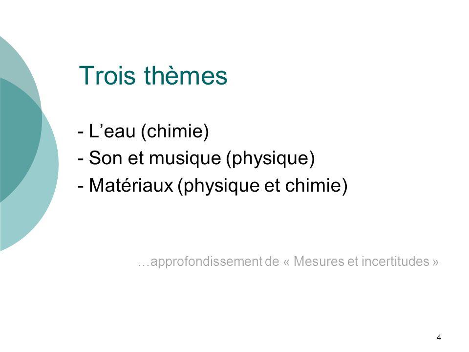 Trois thèmes - Leau (chimie) - Son et musique (physique) - Matériaux (physique et chimie) …approfondissement de « Mesures et incertitudes » 4