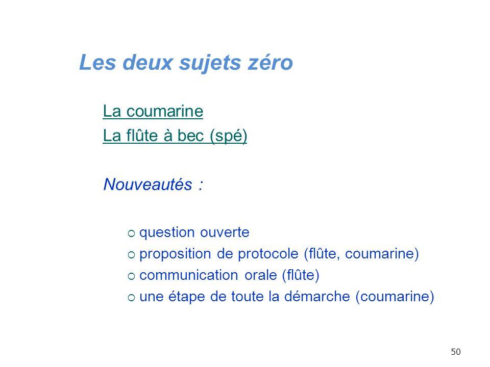 50 Les deux sujets zéro La coumarine La flûte à bec (spé) Nouveautés : question ouverte proposition de protocole (flûte, coumarine) communication oral