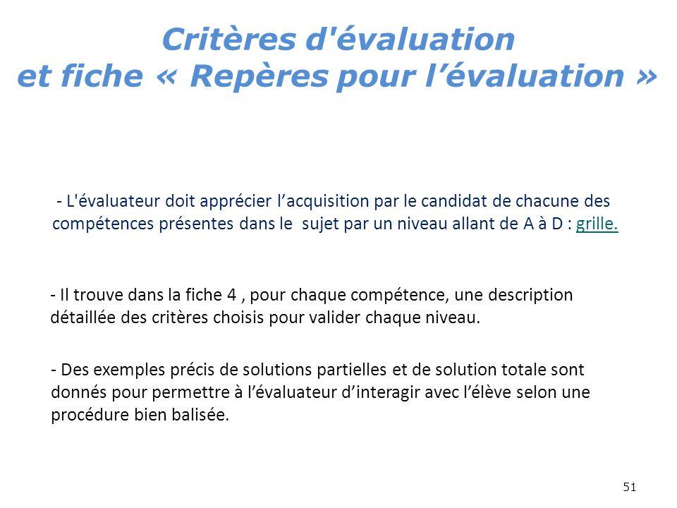 51 - L'évaluateur doit apprécier lacquisition par le candidat de chacune des compétences présentes dans le sujet par un niveau allant de A à D : grill