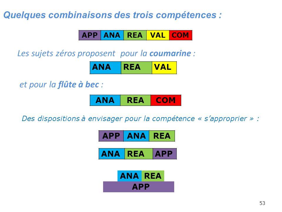 53 Quelques combinaisons des trois compétences : APPANAREAVALCOM ANAREACOM APPANAREA ANAREAAPP ANAREA APP Des dispositions à envisager pour la compéte