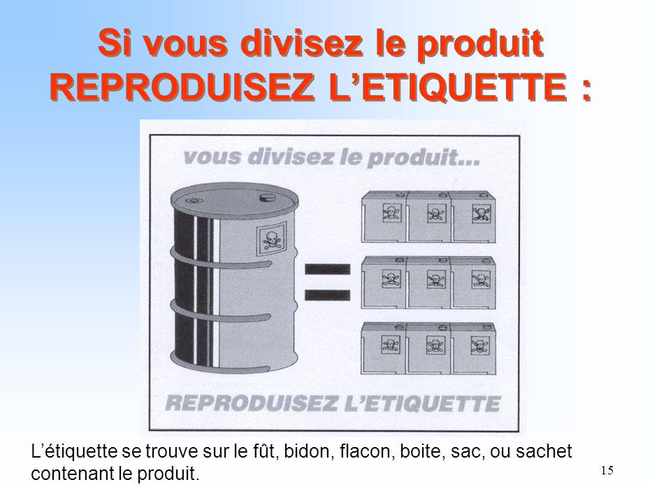 15 Si vous divisez le produit REPRODUISEZ LETIQUETTE : Létiquette se trouve sur le fût, bidon, flacon, boite, sac, ou sachet contenant le produit.